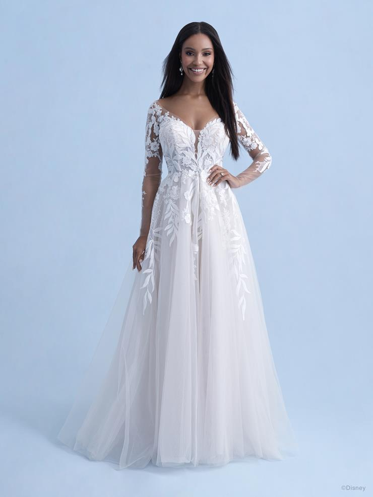 Disney Fairy Tale Weddings Style #D285 Pocahontas 3/4 Sleeve Sweetheart A-line Lace Wedding Dress with Leaf Inspired Lace and Illusion Train  Image