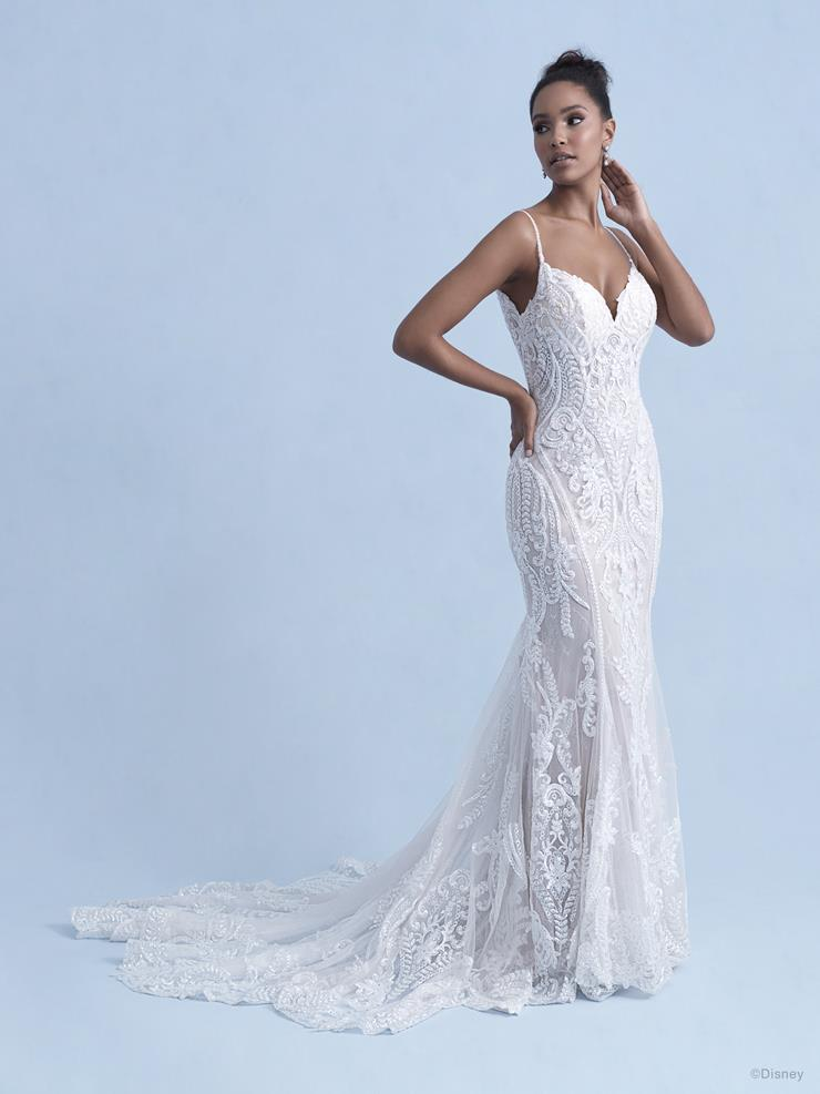 Disney Fairy Tale Weddings Style #D288  Tiana - Spaghetti Strap V-neck Sheath Wedding Dress covered in Beaded Lace and Sequins  Image