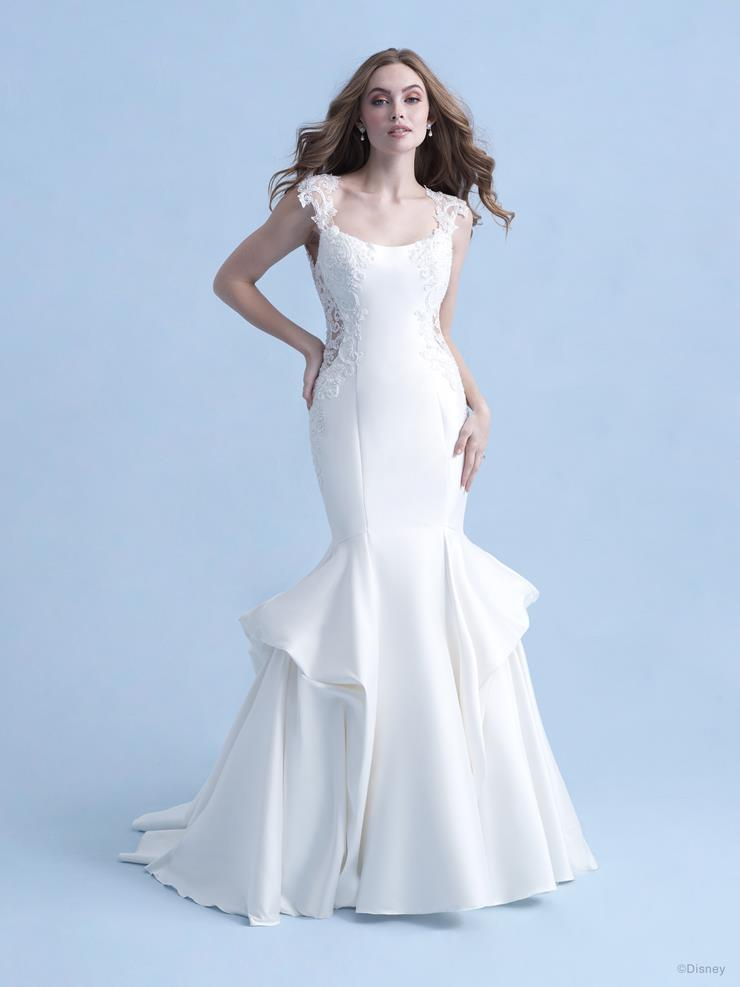 Disney Fairy Tale Weddings Style #D290 -  Ariel Modern Mermaid Wedding Dress with Cap Sleeves and Side Cut Outs  Image