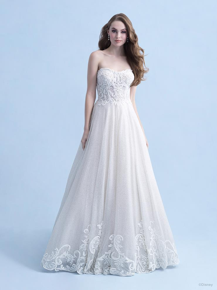 Disney Fairy Tale Weddings Style #D293 Cinderella -Strapless A-line Wedding Dress with Sparkling Diamond Tulle and Scroll Lace Design  Image