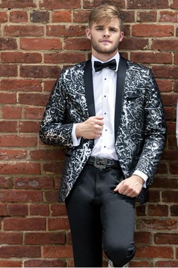 Mark of Distinction 274M Black with Silver Lame' Splash Tuxedo Image
