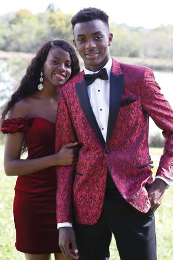 Couture 1901 262M Red Paisley Prom Tuxedo