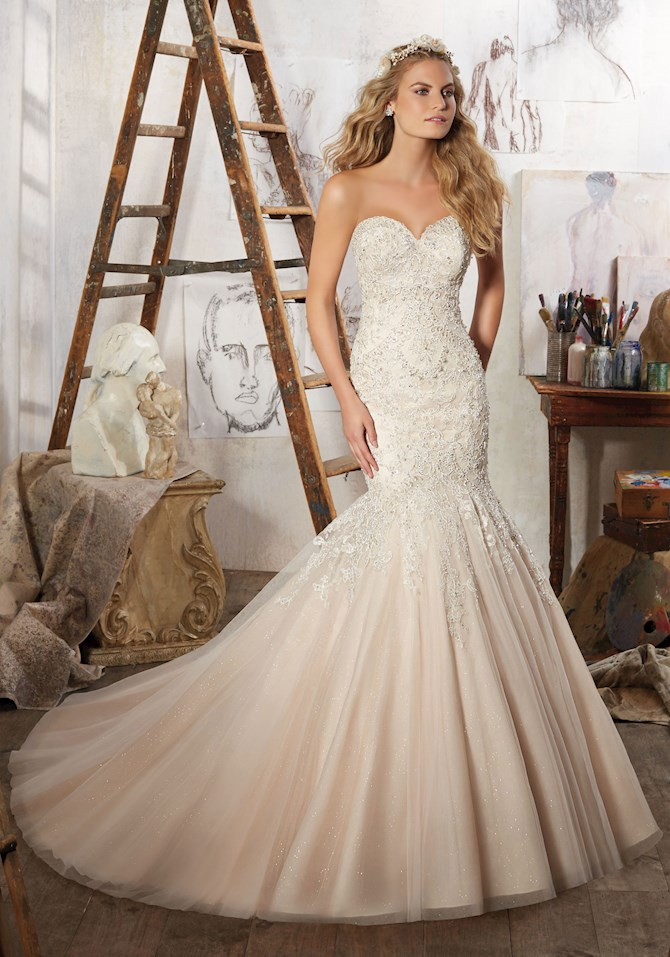 Scoop Neck Mermaid Bridal Dresses in Color | Style - M783
