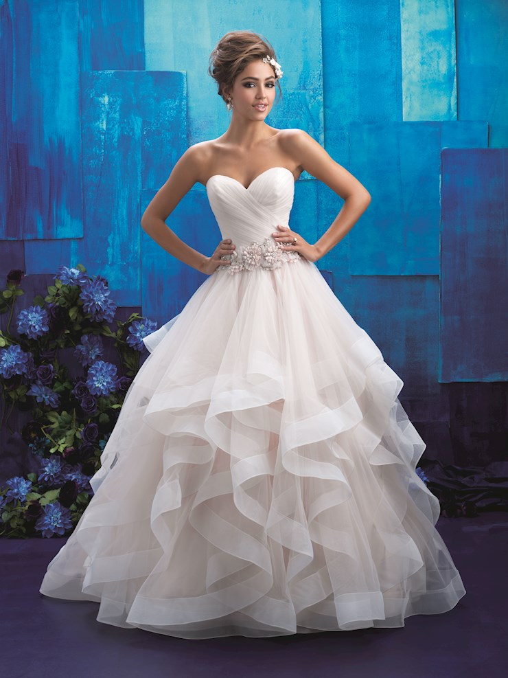 Allure Style #9408 Strapless Ballgown Wedding Dress with Sheer Ruffled Skirt and Floral Belt Image