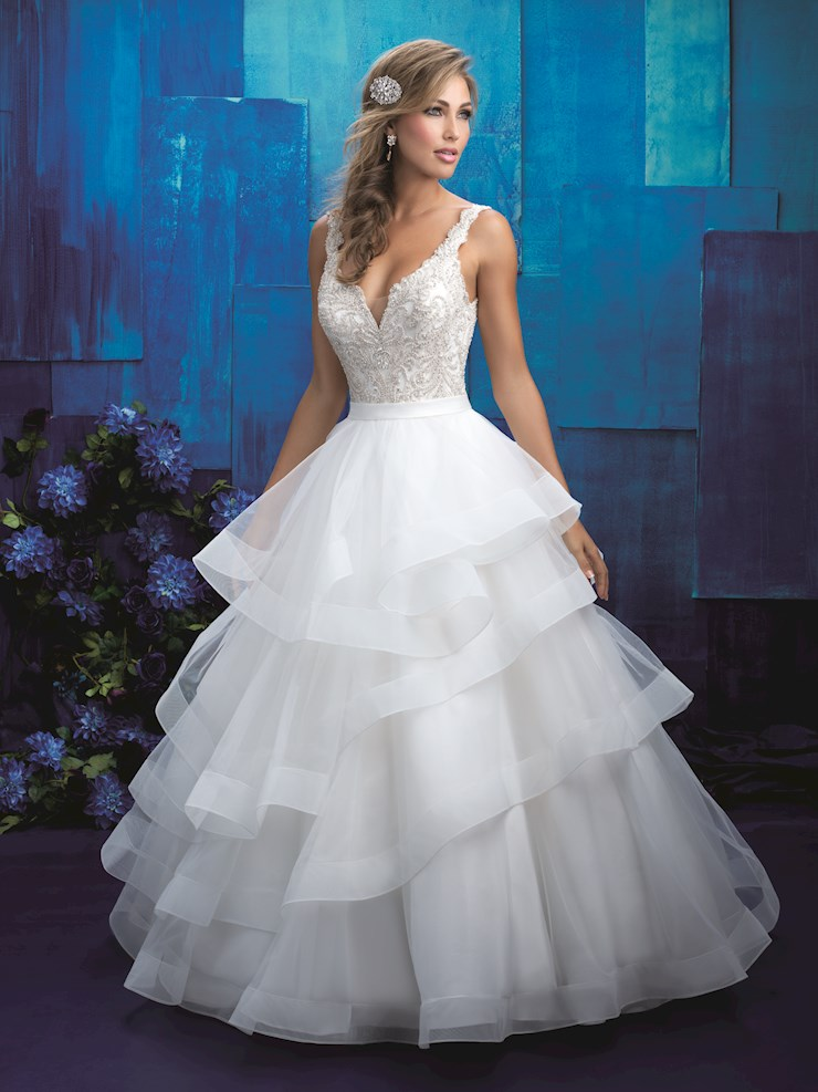 Allure Style #9418  V-neck Crystal and Silver Beaded Ballgown with Ruffled Skirt Image