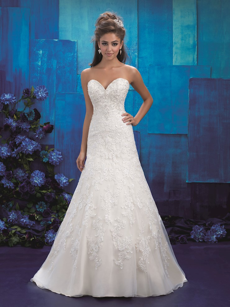 Allure Style #9420 Sweetheart Strapless Lace A-line Wedding Dress Image