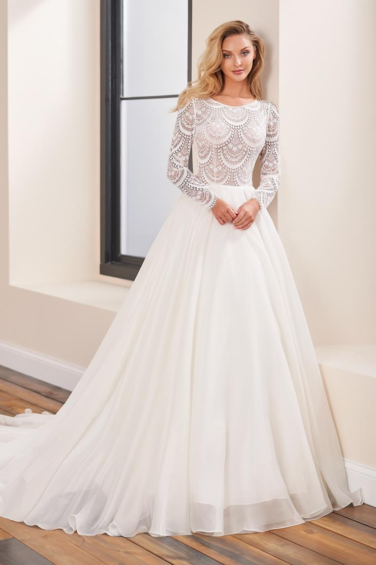 Long sleeve A-line wedding gown with sheer bodice and organza skirt