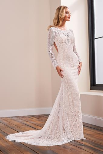 Lace fit and flare bridal gown with bold, open back and illusion lace