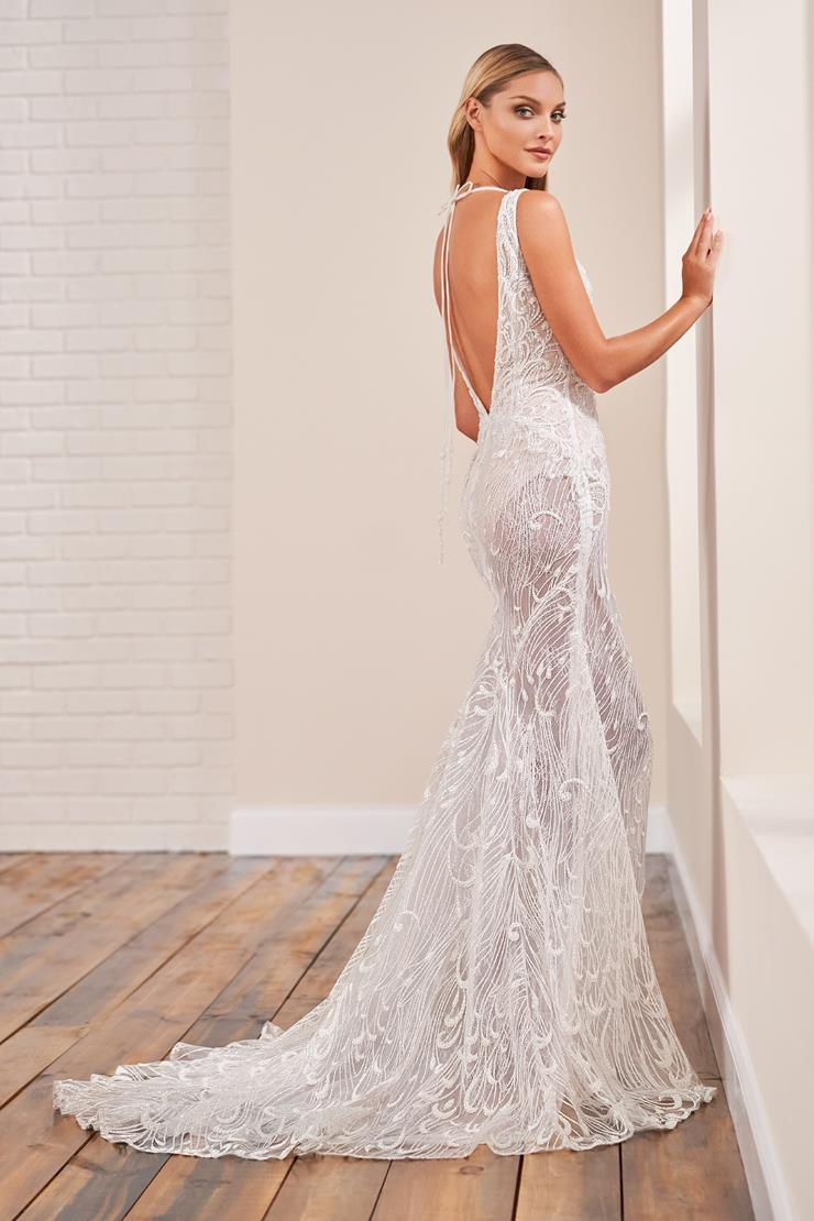 Sheer lace sleeveless fit and flare wedding dress with subtle all-over shimmer
