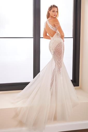 Embroidered fit and flare wedding dress with unique beaded shoulders
