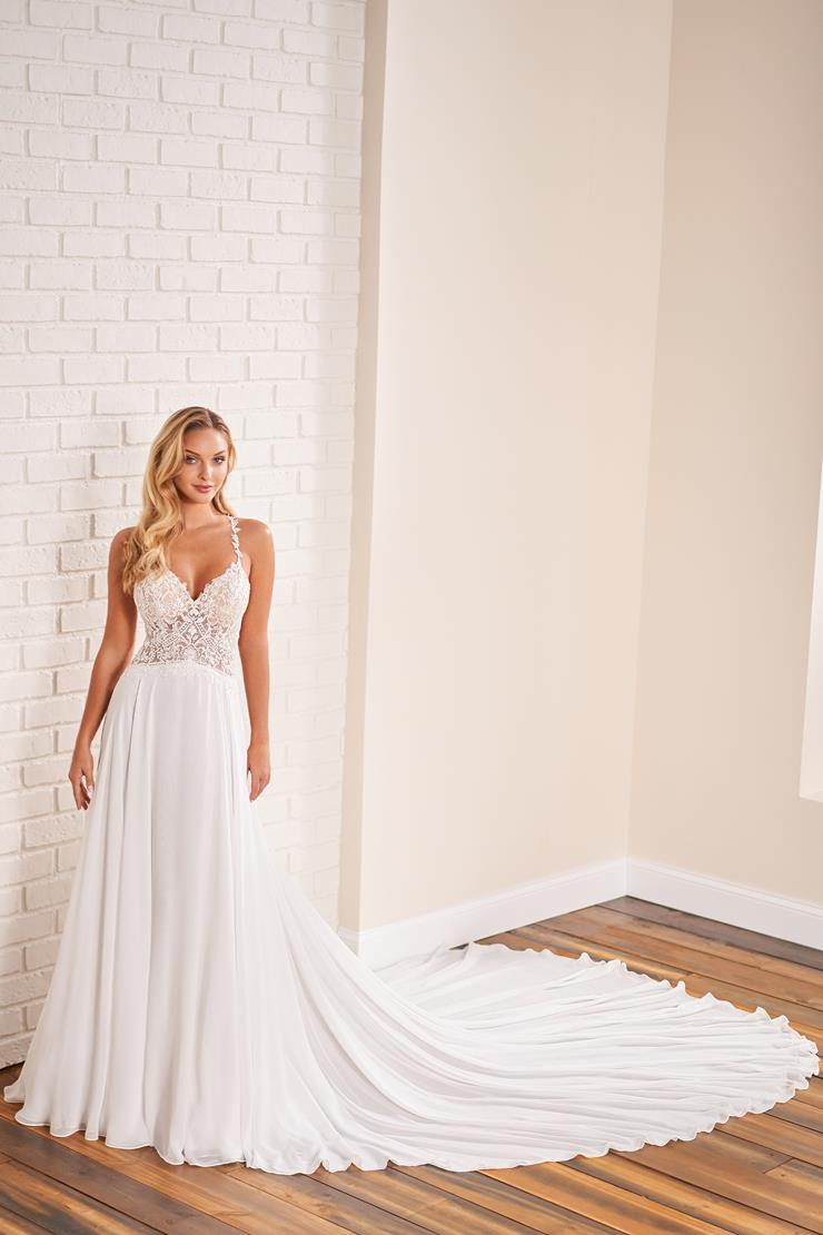 Chiffon A-line wedding dress with illusion lace back and covered buttons