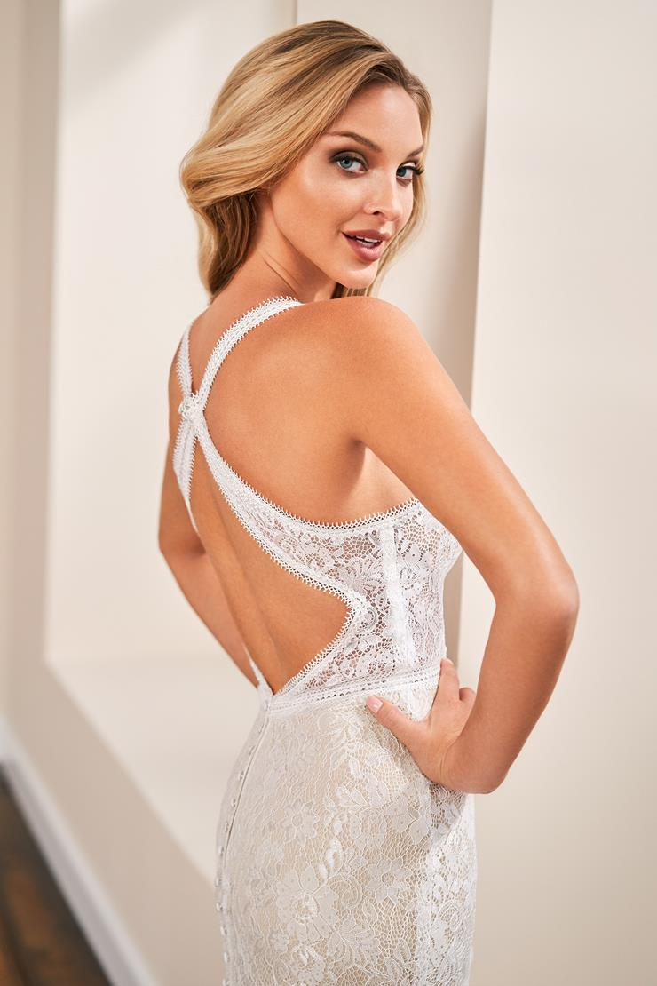 Halter neck lace fit and flare bridal gown with keyhole back
