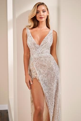 Sleeveless all-over sequin sheath dress with high leg slit