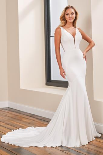 Crepe fit and flare wedding dress with plunging neckline and illusion lace back