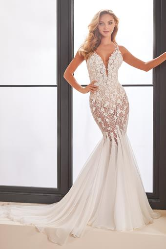 Illusion lace fit and flare bridal gown with plunging neckline
