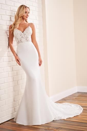Floral applique bodice with crepe fit and flare skirt and lace train