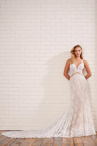 All-over lace A-line wedding dress with unique waist cutouts