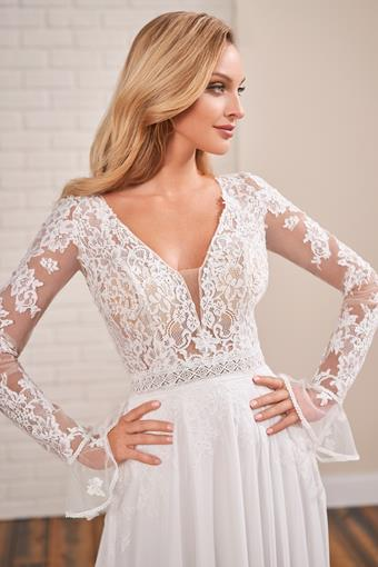 Long sleeve A-line wedding dress with unique flared cuffs and open back