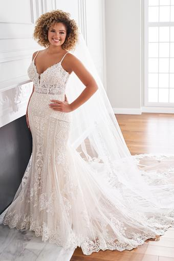 Lucerne Modern mermaid wedding dress with plunging neckline and sheer bodice