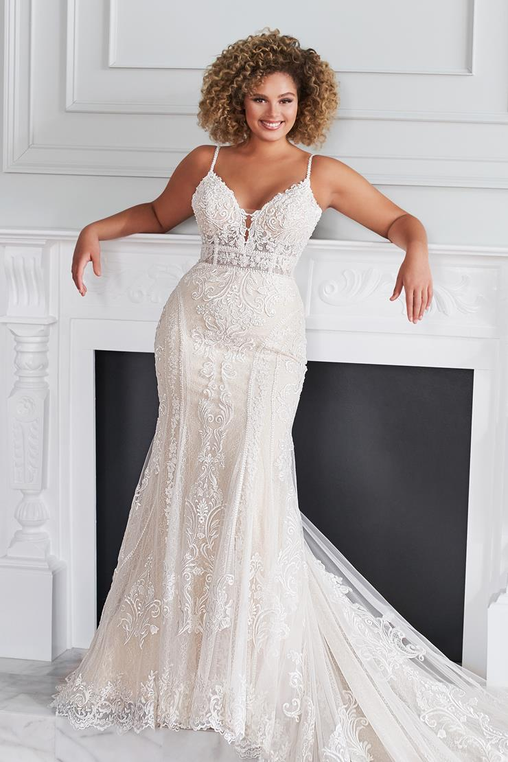 Lucerne Modern mermaid wedding dress with plunging neckline and sheer bodice