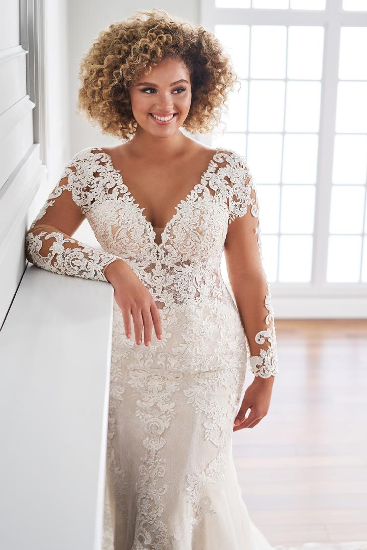 Florent Romantic long sleeve lace applique fit and flare wedding dress