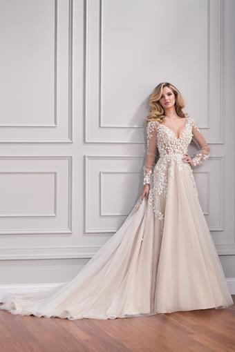 Blaye Ethereal A-line wedding dress with floral applique and illusion bishop sleeves