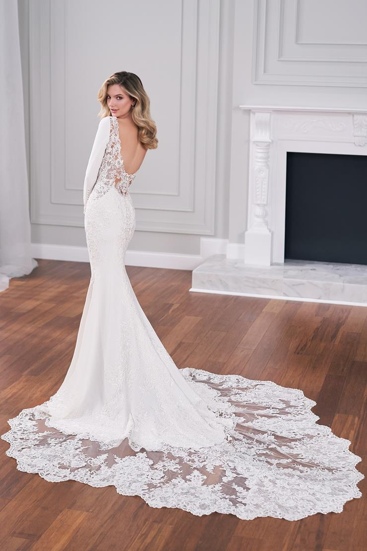 Preston Sleek crepe fit and flare bridal gown with sheer lace back