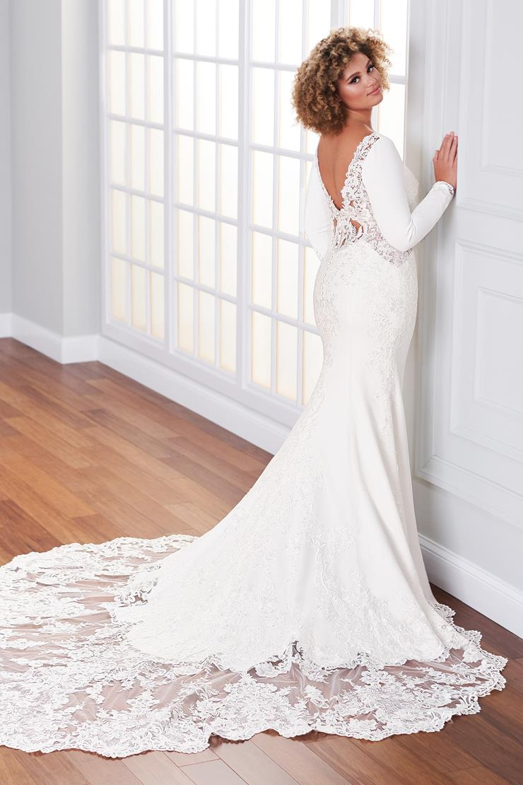 Preston Simple fit and flare wedding dress with open lace illusion back
