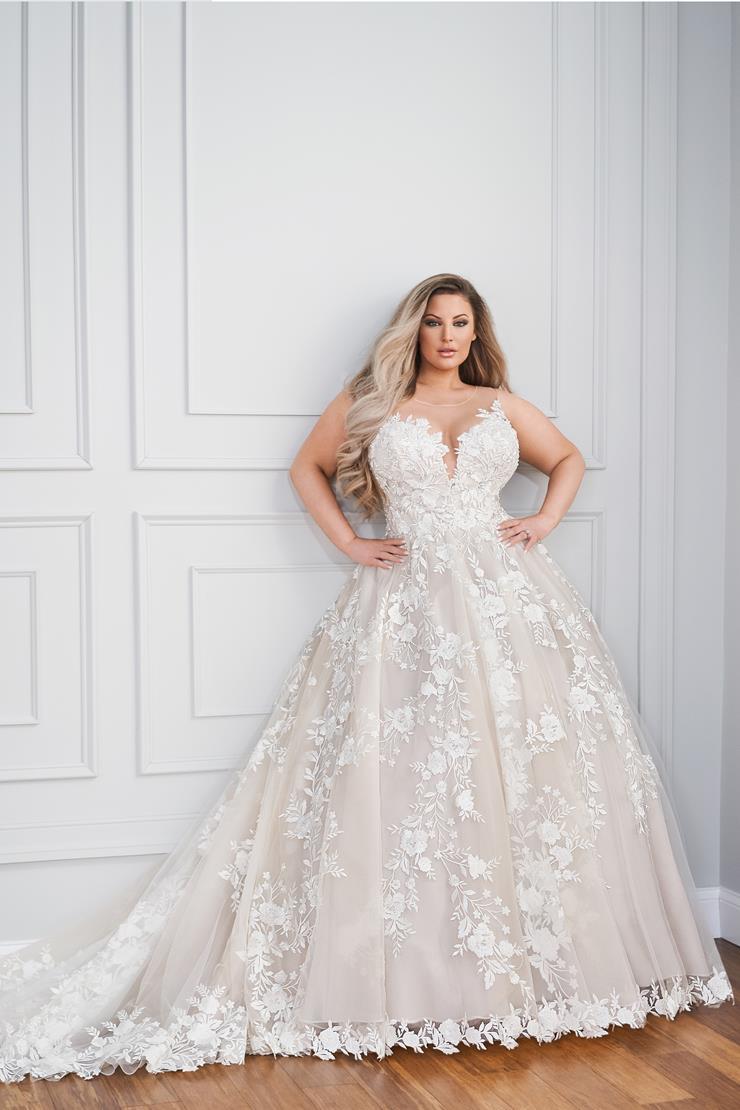 Abelle Sleeveless A-line wedding dress with subtle beaded lace bodice