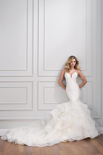 Cassel Sophisticated mikado wedding dress with dramatic layered tulle fit and flare skirt