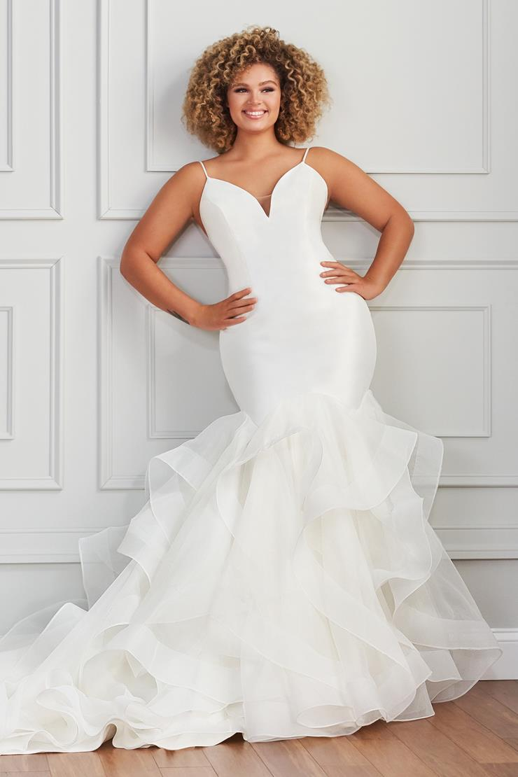 Cassel Sleek fit and flare wedding dress with plunging neckline and layered tulle skirt