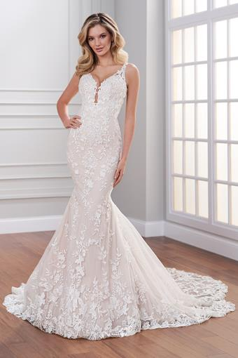 Shelbi Sleeveless beaded lace wedding dress with plunging neckline and lace train