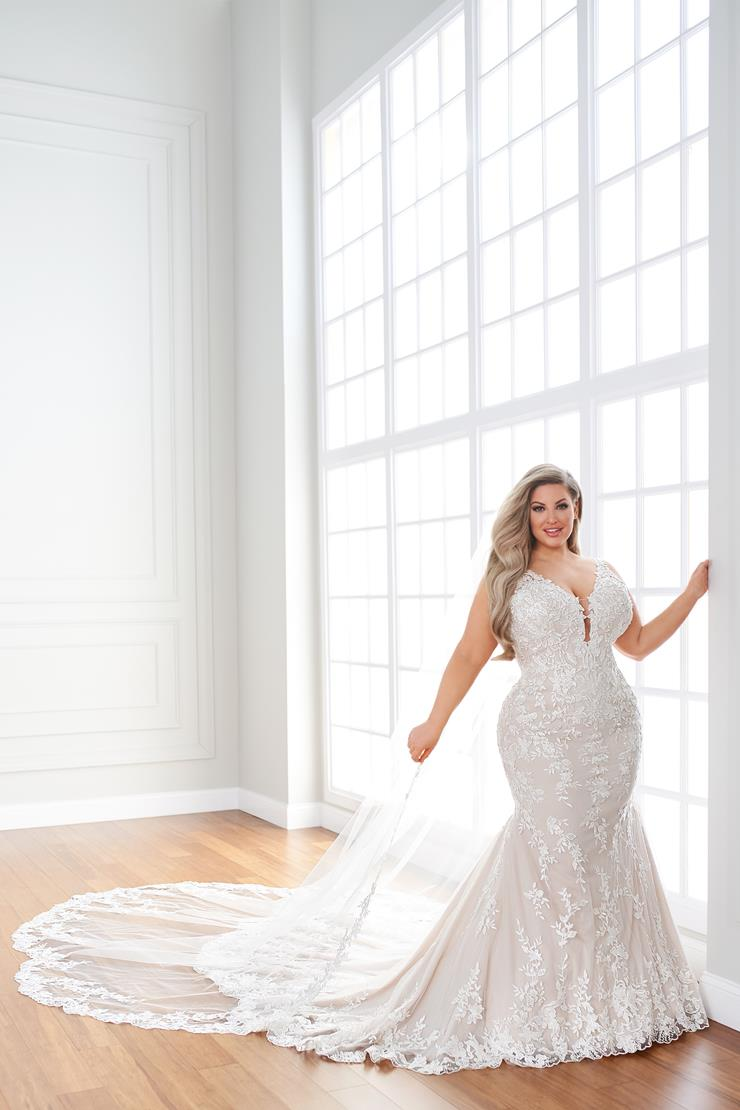 Shelbi Beaded lace fit and flare wedding dress with plunging neckline and low back