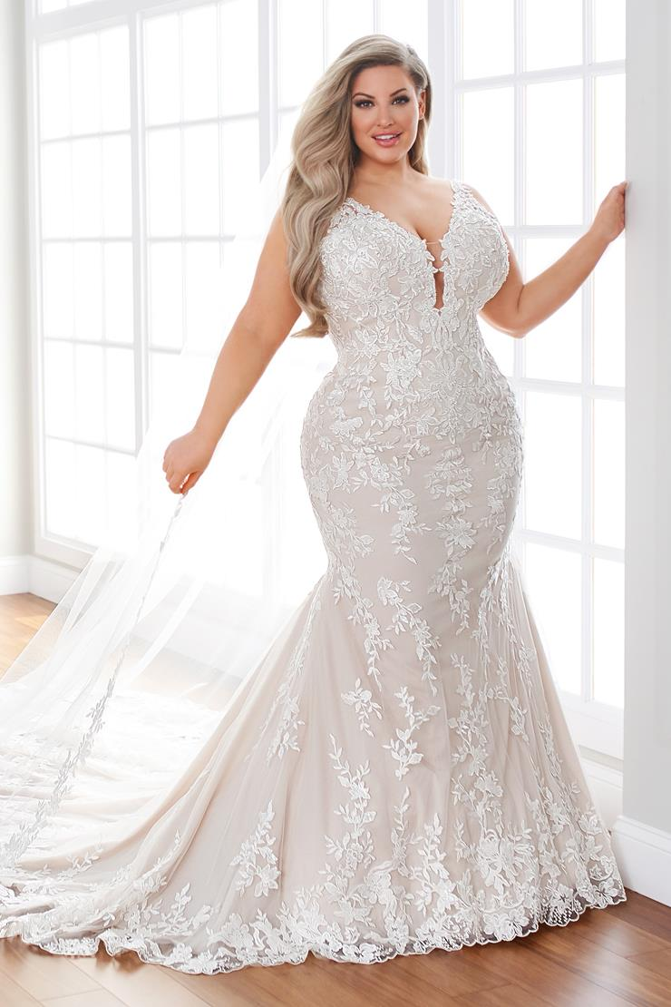 Beaded lace fit and flare wedding dress with plunging neckline and low back