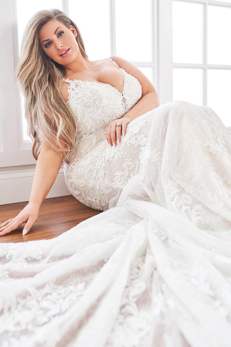 Claudine Sleeveless beaded lace mermaid wedding dress with plunging neckline