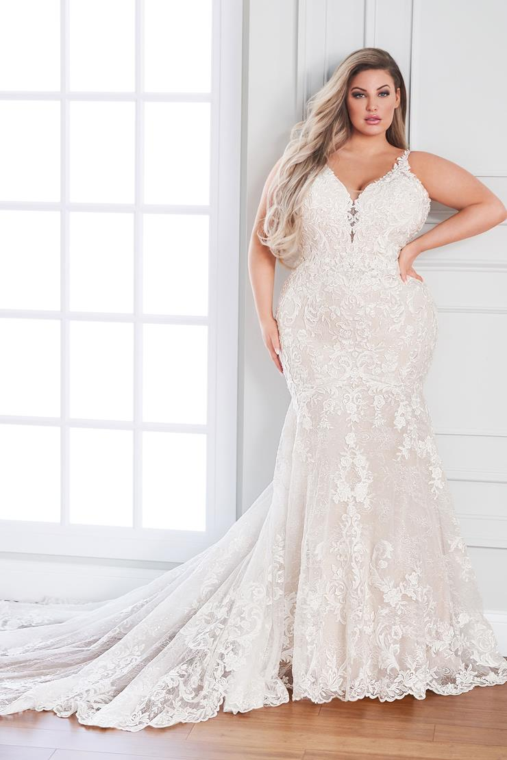 Claudine Sleeveless beaded lace mermaid wedding dress with plunging neckline
