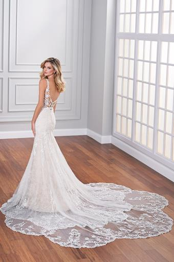 Dawes Lace fit and flare wedding dress with low back and petal shaped cathedral train