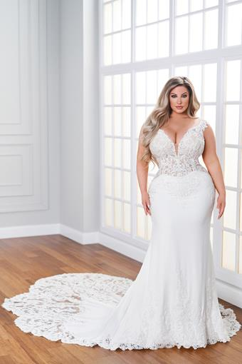Alexandre Fit and flare wedding dress with sheer lace bodice and sleek crepe skirt