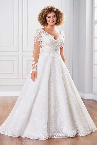 Palatine Ball gown with lace illusion sleeves and intricate bead work
