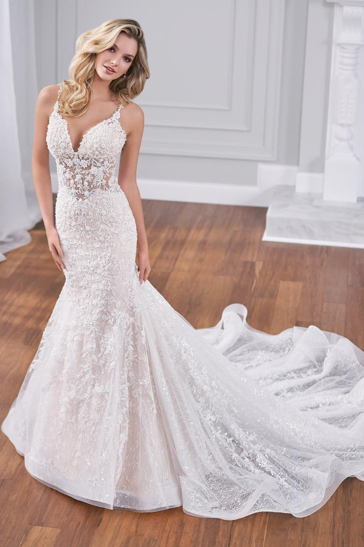 Asti Mermaid wedding dress with spaghetti straps, sheer bodice, and all-over lace