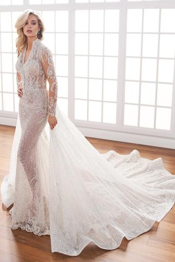Katia Long sleeve sheer fit and flare wedding dress covered in sequin lace