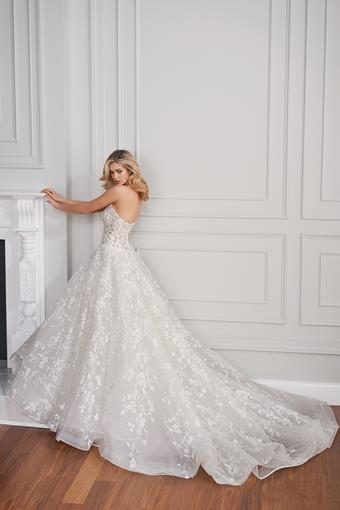 Cassini Beaded lace ball gown with off-the-shoulder illusion bishop sleeves