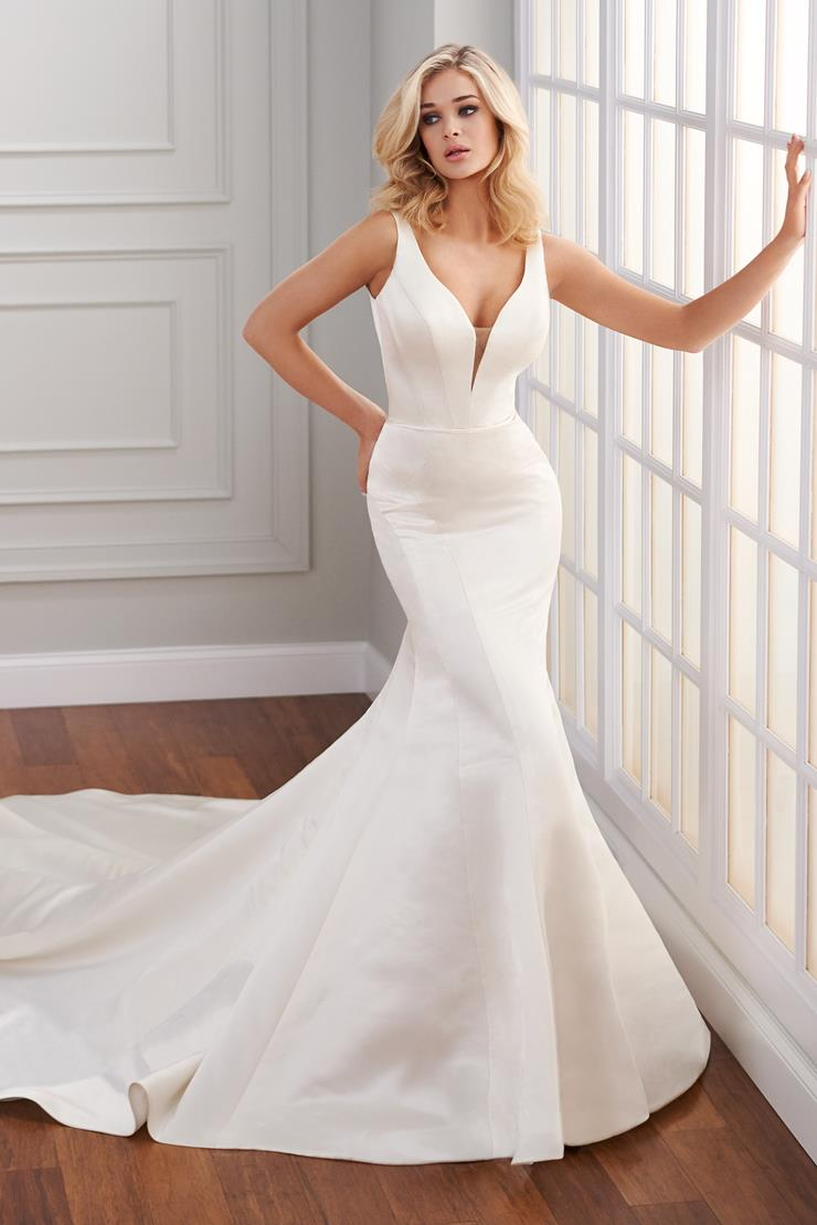 Dillon Simple, sleek sleeveless silk fit and flare wedding dress with plunging neckline and low back