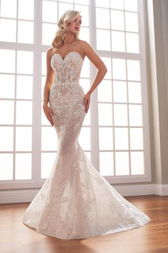 Masse Romantic beaded fit and flare wedding dress with off-the-shoulder bishop sleeves
