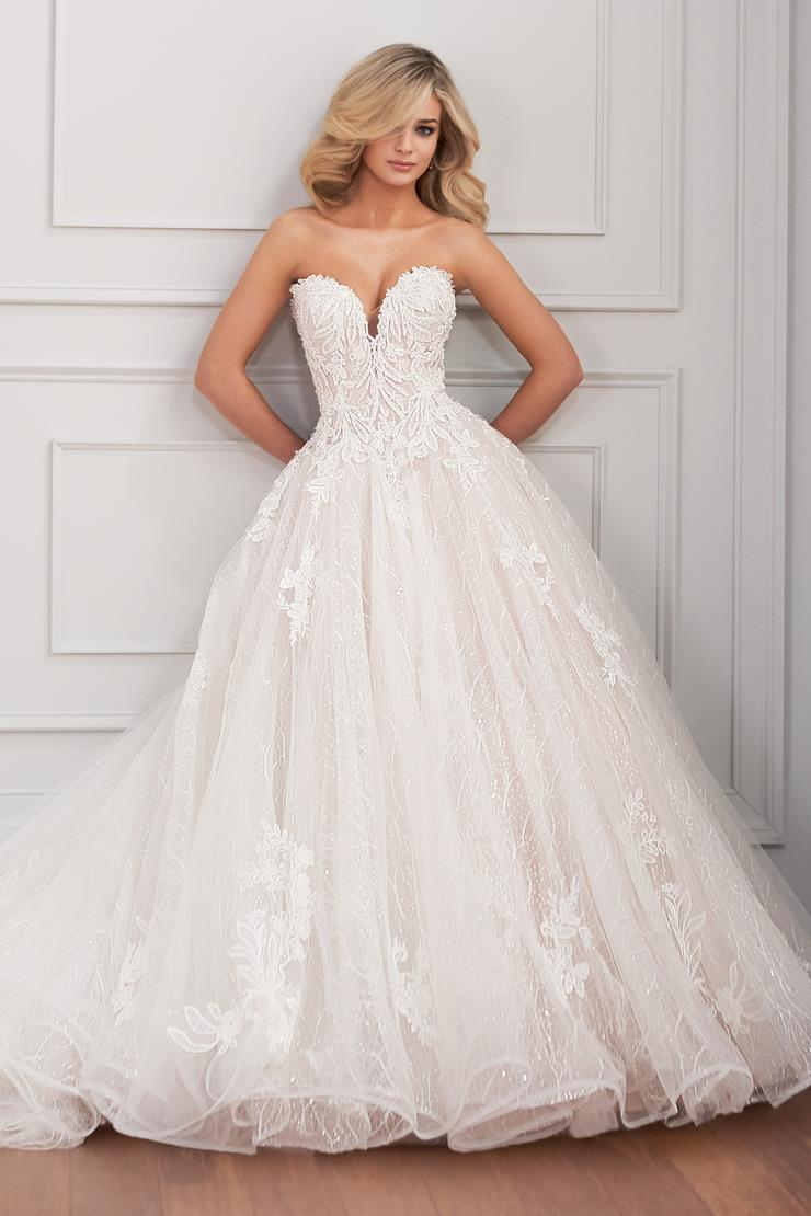 Larue Strapless ball gown with plunging sweetheart neckline and beaded lace applique details