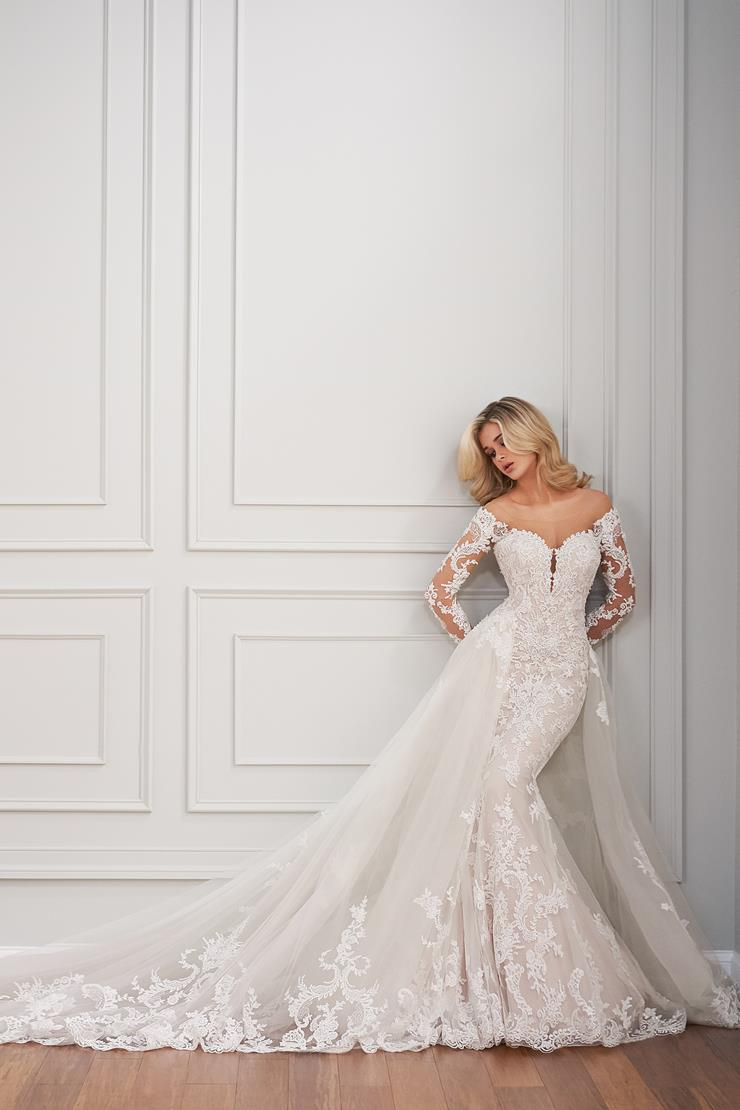 Julien Off-the-shoulder illusion sleeves and plunging neckline on a fit and flare silhouette