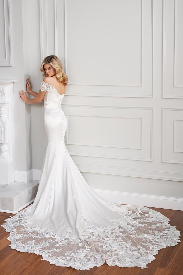 Tristane Silk fit and flare wedding dress with gathered waist and lace train
