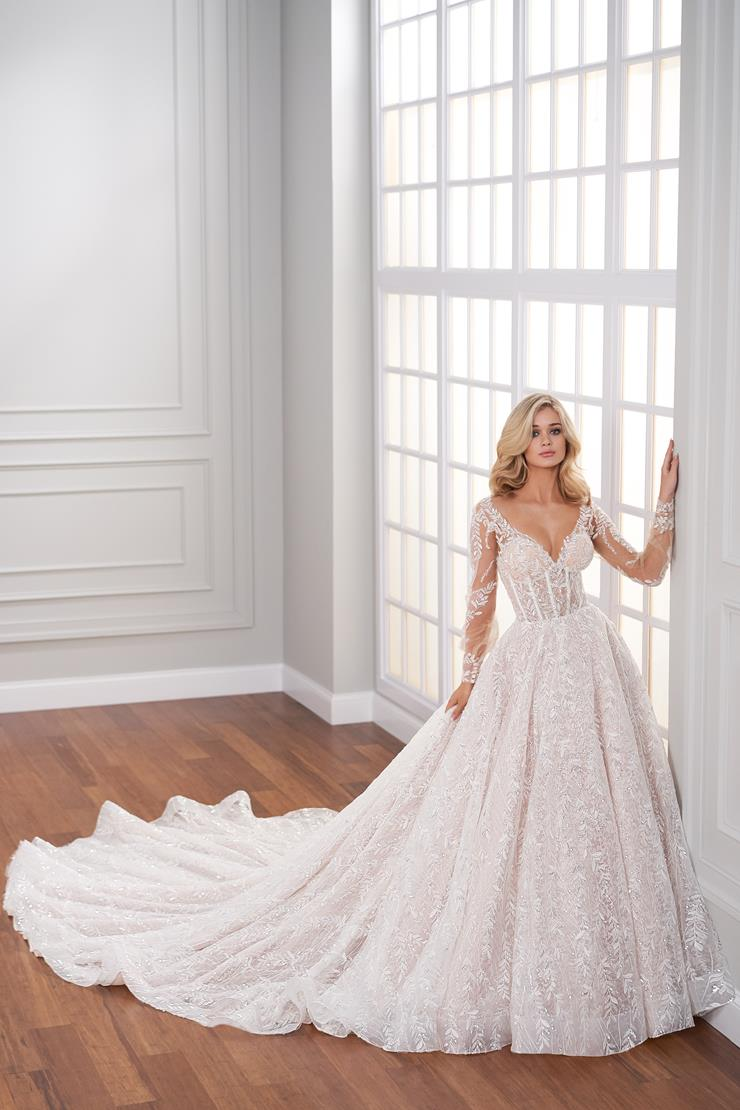 Anais Ball gown covered in lace sequin embroidery with illusion bishop sleeves