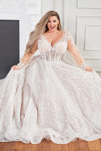 Anais Lace sequined ball gown with illusion sleeves and sheer bodice