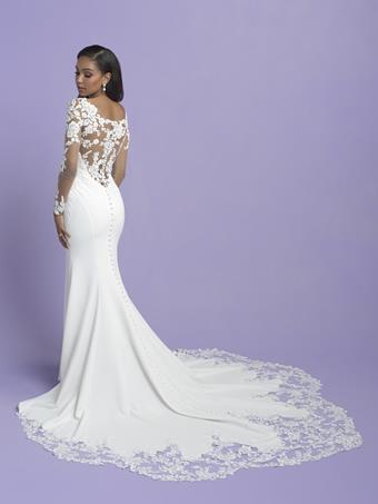 Allure Romance Style #3409 Long Illusion Sleeve Lace Sheath Wedding Dress with Crepe Skirt